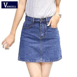 Wholesale Women Mini Jeans Skirt - 2017 New Summer Style Women Skirt American A-line High Waist Denim Skirts Short Vintage Woman cowgirl Mini Jeans Skirt S-XXXL