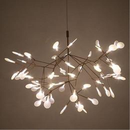 luzes suspensas comerciais led Desconto Criativo Art Designer de Lustre de Luxo Folha de Árvore de Luxo Moderno Pingente Lâmpadas Deco Lustres Para Sala De Jantar Em Casa Quarto
