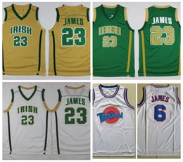 school shirt men Promo Codes - Mens St. Vincent Mary High School Irish LeBron James Jerseys #23 Green LeBron James Tune Squad Space Jam Stitched Vintage Basketball Shirts