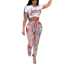 2018 Nova Chegada de Verão Duas Peças Set Moda Feminina LVOE Imprimir Elegante O-pescoço Lace-up 2 Peça Set Sexy Magro Plus Size Terno Das Mulheres de