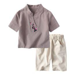 Wholesale hanfu clothes - Baby Boys Clothing Summer Children Flower 2018 NEW Cotton Linen Kid Set Tshirts+Short Pants Kids Suit Set Chinese Hanfu 2-10Y