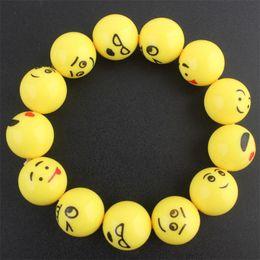 Argentina Emoji expresión pulsera sonriente cara niños anillo de la mano adornos amarillo encantadora resina elástica mano cadena cintura correa 2qb gg supplier yellow resin ring Suministro