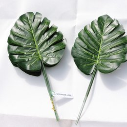 Wholesale plants furniture - Artificial Monstera Turtle Leaf Wall Plant Tree Branch Wedding Home Office Furniture Garden Decor Green P028