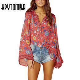 a92d06fc2152 Boho Vintage Birds Floral Print Blouse Shirts Women 2018 New Fashion O Neck  Long Flare Sleeve Laides Blouses Casual Femme Blusas boho shirts blouses  for ...