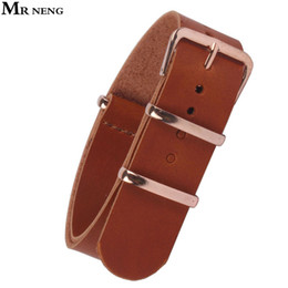rose gold men belt Promo Codes - MR NENG 18mm 20 mm 22mm NATO Brown PU Leather Watchbands Men Women Watches Straps Wristwatch Band Rose Gold Buckle 20mm Belts