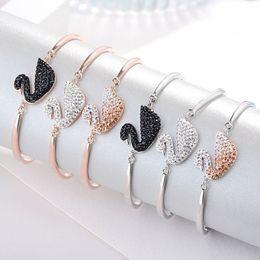 2019 platinarmbänder für männer S925 Sterling Silber Schwan Armband Armband Platin Rose Gold schrittweise weißen Diamanten schwarzen Schwan Armband Hersteller Schmuck Großhandel