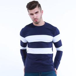 camisas longas do spandex da luva dos homens Desconto Spandex New Outono Inverno Mens Camisa de Manga Longa O Pescoço Listrado T Shirt para Homens Mens Vestuário Tamanho M-3XL