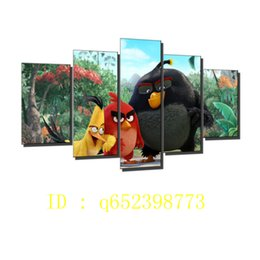 Wholesale Art Oil Canvas Bird - Chuck,red Bomb Birds ,5 Pieces HD Canvas Printing New Home Decoration Art Painting  Unframed   Framed