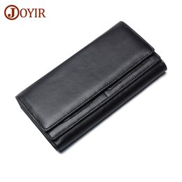 Wholesale Men Genuine Trifold Leather Wallet - JOYIR New Trifold Men Wallet Leather Genuine Large Capacity for Credit Cards Cowhide Leather Wallet Clutch Male Coin Purse &53