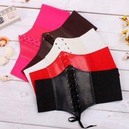 Wholesale Wide Brown Waist Belts - Sexy Women Waist Trainer Underbust Corset Elastic Wide Band Elastic Tied Waspie Corset Waist Belt Free Size 5 Colors