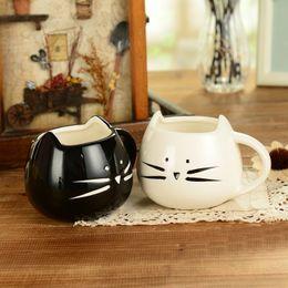 Wholesale Kawaii Mugs - 400ml Lovely Cute Cat Design Coffee Mug Ceramic Black And White Kawaii Cat Lovers Mugs Breakfast Milk Mug Tea Mug Juice Cup