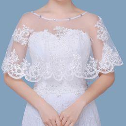 2019 chaleco nupcial de la boda blanca Venta caliente del hombro nupcial de encaje Bolero apliques cabo bajo frontal larga espalda blanca encogiéndose mujeres chales accesorios de la boda CPA1295 chaleco nupcial de la boda blanca baratos