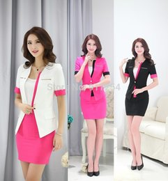 Wholesale Women Working Skirt Suits - New Uniform Style 2015 Summer Formal Blazer Set Fashion Business Women Suits with Skirt and Tops Ladies Office Work Blazers