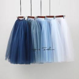 Wholesale Womens Tutu Skirt White - 7 Layered Tulle Skirts Womens High Waist Swing Dolly Ball Gown Underskirt Mesh Tutu 2017 Summer Midi Skirt Faldas Saias Jupe