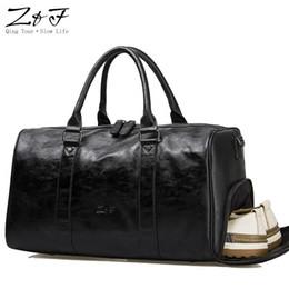 244564eee98 Men  Travel Duffle Bags PU Leather Shoe Pocket Men s Travel Bags Black  Shoulder Handbag Messenger Bag Tote 15 inch Laptop