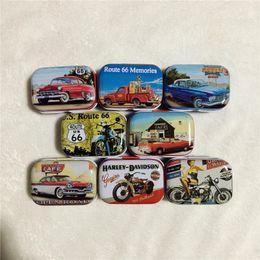 Wholesale Vintage Metal Candy Tins - 32pcs New Mini Retro tin boxes Route 66,Vintage Car Motorcycle Print coin storage case tinplate candy box