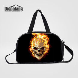 red skull shoes Coupons - Canvas Travel Bags For Teenage Boys Customize Expression Skull Duffle Shoulder Bag Men Sporty Weekend Overnight With Shoes Unit