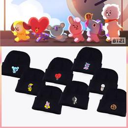 2019 headpiece de noiva vermelho preto Kpop BTS Mercadoria BT21 dos desenhos animados Hat Jimin Suga Jungkook preto de malha de lã Cap Inverno Unisex Hat