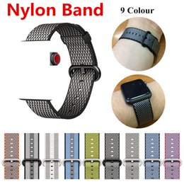Wholesale Watches Stripes - Nylon Band New 9 Colour For Apple Watch Check Stripe Woven Nylon Fabric Buckle Watchband 38 42mm Sport Strap Band For iWatch Series 3 2 1