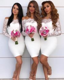2019 hombros de renda de casamento branco 2019 sexy fora do ombro branco sereia vestidos de dama de honra na altura do joelho rendas applique vestido de noiva vestido de dama de honra vestidos robes de fête hombros de renda de casamento branco barato