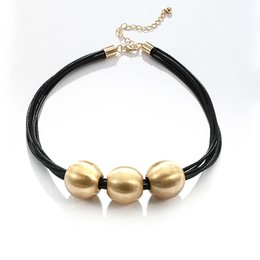 Wholesale leather bib necklaces - Brighton Multilayer Black Pu Leather Chokers Silver Color Polishing Three Ball Bib Necklace for Women Unisex Statement Jewelry
