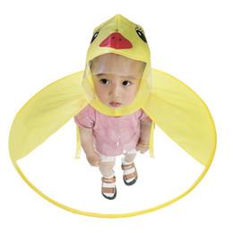 Argentina NIÑOS DE PATO DE HISTORIETA LINDA UMBRELLA impermeable CAPA DE OVNI DE OVNI DE ORO Amarillo impermeable CAPA Impermeable para niños cheap yellow capes coat Suministro