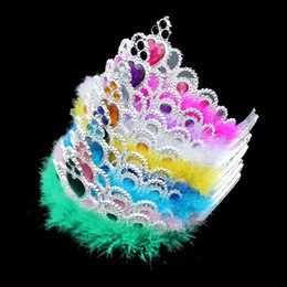 Wholesale girls rhinestone tiara - New Plastic Feather Princess Crown Children Kids Adult Girls Rhinestone Hair Accessories Tiaras Cosplay Crown Party Favor Gifts TY7-119