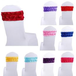 Precios de fundas para sillas de boda online-Precio al por mayor de Satén Rosette Lycra Silla Band \ Chair Sash para la boda Spandex silla cubierta SN337