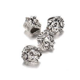 Wholesale Tibetan Beads For Jewelry Making - 100pcs lot Lion Charms For Jewelry DIY Making Antique Sliver color Tibetan Lion Head Bead Spacer Beads For Bracelet Making Findings
