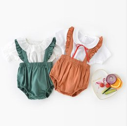 Wholesale High Waist Overalls - overalls 2018 hot selling INS summer new style kids Lovely Lotus leaf lace high quality cotton cool and breathable solid color overalls