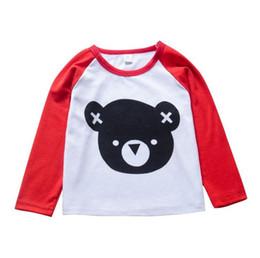 ours t-shirt enfant Promotion Enfant bébé garçons fille à manches longues ours T-shirt Rouge Blanc Gris Noir Tee Tops En Gros Pour Nouveau-Né Animal Enfants Vêtements À La Mode Articles 6M-5T