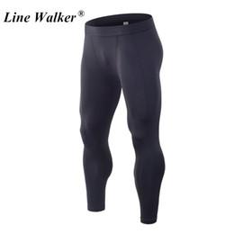 ff2a0f07f052 männer kompression laufstrumpfhose hose Rabatt Linie Walker Black  Compression Fitness Hosen für Männer Sport Gym Tights