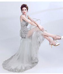 Wholesale Sexy After Dresses - Elegant Gray Lace Applique Evening Dresses 2018 New After Short Before Long Women Sexy Backless Sweep Train Formal Party Gowns