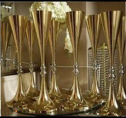 Décorations de table de mariage étincelantes en Ligne-70 cm 27 pouces hauteur Blanc Argent De Mariage Fleur vase Bling Table Pièce De Table Étincelant De Mariage Décoration Banquet Route Lead Decor