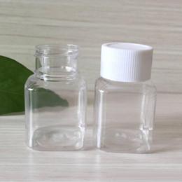 Bottiglie pillola piccolo plastica online-Flacone in PET trasparente da 30 ml Tappo a vite con tappo quadrato in PET trasparente Bottiglia di pillola in plastica trasparente
