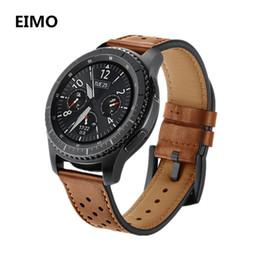 pulsera de cuero Rebajas Correa de cuero genuino de 22 mm para Samsung Gear S3 Classic Frontier Hole Style Bracelet Watch Band pulsera muñequera de reemplazo