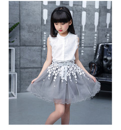 e1be5e5e871 Girls Suit Summer New Korean Fashion Little girl Sleeveless jacket Lace  Lace skirt Two-piece V 002