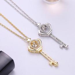Wholesale brass heart keys - 2018 NEW Lovely key Necklace AAA Austrian Swing design Zirconia Pendant Necklace for Women Wholesale Jewelry P265