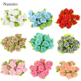 Wholesale Diy Mini Ribbons - 300 PCS 2 CM Artificial Silk Mini Rose Flowers Heads Make Satin Ribbon DIY Craft Scrapbooking Applique For Wedding Decoration