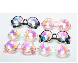 Runde Kaleidoskop Brille Rave Festival Männer Frauen Kinder Markendesigner Holographische Kristall Party Club Coole Sonnenbrille Retro von Fabrikanten
