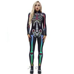 Costumi di Halloween per adulti Maniche lunghe Tute per osso di cranio Catsuit Tute di stampa skinny con scheletro a figura intera da