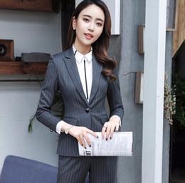 6a5c19c466a4 2 piece Sets Gray Black Blue Striped Pant Suit Formal Ladies Office OL  Uniform Designs Women elegant Business Work Wear Blazer with Trousers