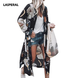 wholesale kimonos Coupons - LASPERAL Women Flower Print Blouse Shirt Long Kimono Women Fashion Elegent Long Sleeve Summer Autumn Blouse Blusas Chemise