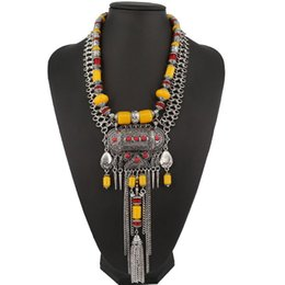 carved horn pendant Coupons - 2016New Fashion Boho Style Fine Jewelry Vintage Ethnic Carved Beaded Pendant Choker Statement Necklaces & pendants Tassel Women