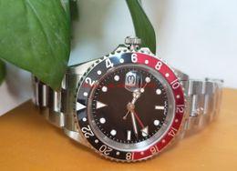 Luxusuhren rotes zifferblatt online-Luxuriöse Qualitätsuhr BP Factory 40mm Vintage GMT Schwarzer und roter Rand schwarzes Zifferblatt 1675 Mechanische automatische Herrenuhren