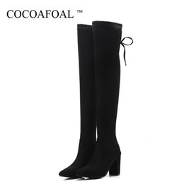 15294a1df63 COCOAFOAL Winter Women s Sexy Over The Knee Boots Woman Knee High Boots  Fashion Plus Size 43 Thigh High Shoes Black Black Gray
