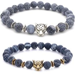 2019 tigerkopfanhänger Leopard Tiger Eye Kopf Armband Buddha Bead Armbänder Armreifen Perlen Charme Naturstein Armband Schmuck Männer Frauen günstig tigerkopfanhänger