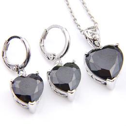 Wholesale Black Onyx Heart Necklace - Novel Luckyshine 5 Sets Fashion Heart Black Onyx Crystal Cubic Zirconia 925 Silver Pendants Necklaces Earrings Gift Wedding Jewelry Sets