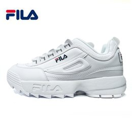 Wholesale Round Leather Lace - 2018 Fila II 2 running Shoes black white Grey Big sawtooth Thick bottom increased Man women Low Outdoor sports Sneakers 36-44