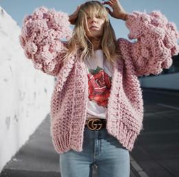 Cardigan maglione mohair online-Causey 2018 Mohair lavorato a maglia cardigan maglione donne grossolana maglione donne inverno lanterna manica cardigan femmina sueter mujer